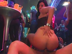 Video clips of regular girls sucking cock with friends on camera at CFNM party voyeur video #1