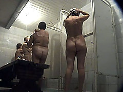 Two mommas with big asses get spycammed in shower voyeur video #2