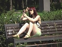 Voyeur upskirt pussy of shameless girl drinking beer in the park filmed on video voyeur video #1