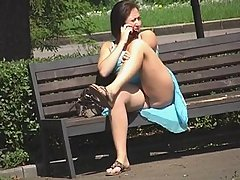 Voyeur upskirt pussy of fat assed amateur woman talking on the phone in the park voyeur video #2