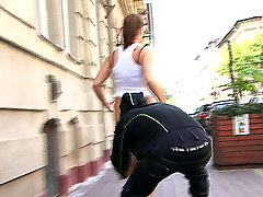Dumb slut with a big ass gets sharked on the street voyeur video #4