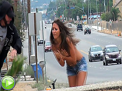 Stupid gets gets sharked off her bike voyeur video #2