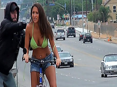 Stupid gets gets sharked off her bike voyeur video #4
