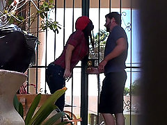 Stupid girl talked into fucking in public voyeur video #1