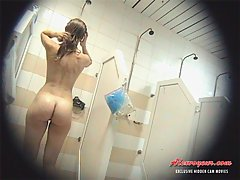 A mixture of scenes showing naked women in the shower room is a good present for a real voyeur voyeur video #1