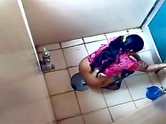 Desi girl enjoying toilet time voyeur video #3