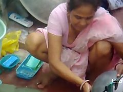 Neighbours Indian wife caught washing house holds voyeur video #2