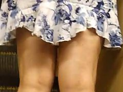 Tall lady noticed something and went faster. But it was too late � I managed to look under her skirt. I failed to see the colour of her panties. voyeur video #1