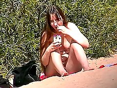The ugly fem was eating nuts and didn�t conceal her big tits and fat belly voyeur video #3