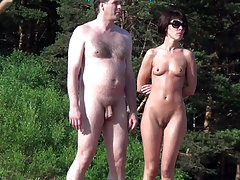 Naked couple continues something to discuss and inspect the neighborhood - may seek another couple for swinger fun party? voyeur video #2