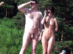 Naked couple continues something to discuss and inspect the neighborhood - may seek another couple for swinger fun party? voyeur video #3