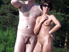 Naked couple continues something to discuss and inspect the neighborhood - may seek another couple for swinger fun party? voyeur video #4